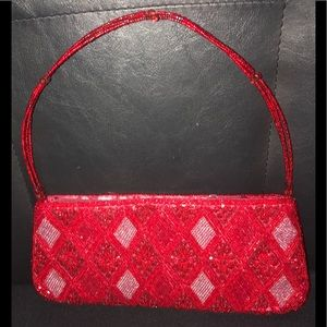 Handbags - Vintage Red Beaded Handbag with Red Silk Interior